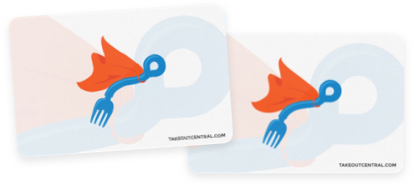 Responsive Logo for Two Takeout Central Gift Cards displayed one slightly on top of the other resembling physical gift cards that would fit in a wallet.