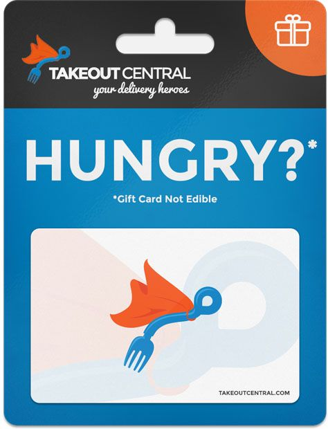 "Image of what a physical Takeout Central would look like with the text ""HUNGRY?"""